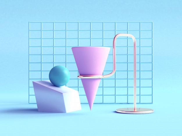 escena 3D Tendencias de diseño gráfico 2019